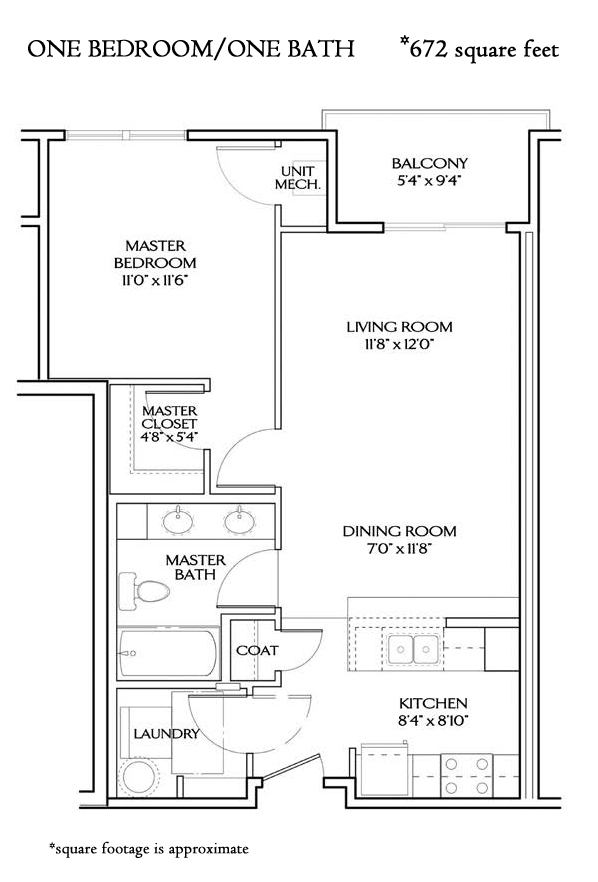 The Baltic ONE BEDROOM L (672 sqft)