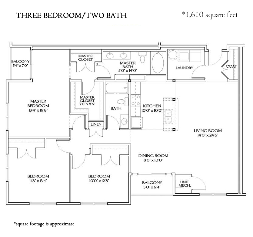 THE BOARDWALK THREE BEDROOM (1610 sqft)