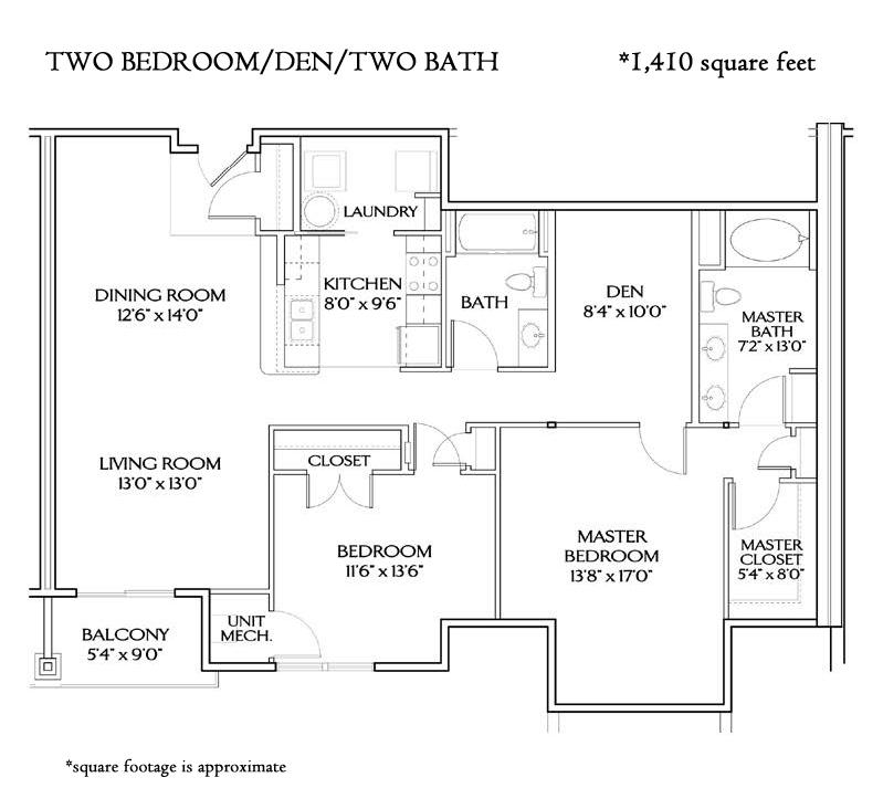 THE MEDITERRANEAN TWO BEDROOM DEN (1410 sqft)