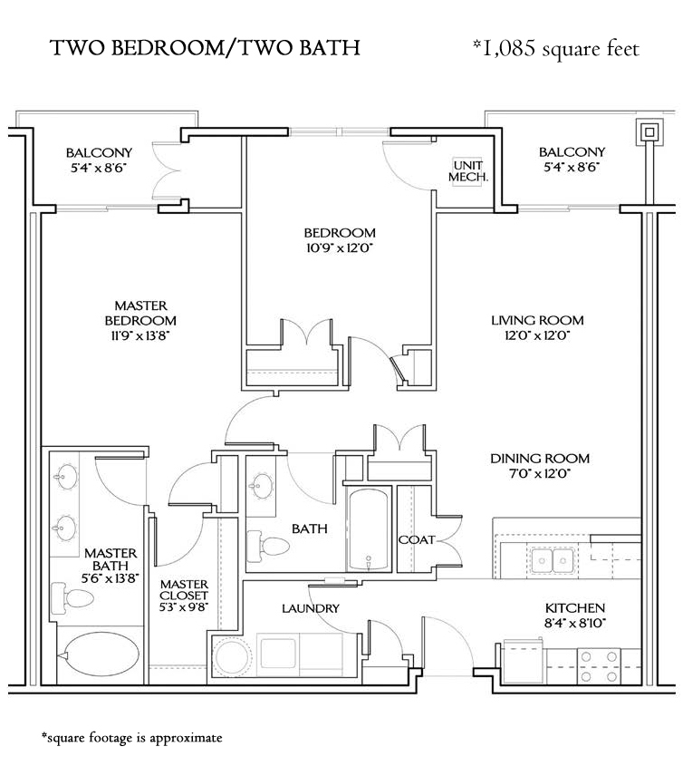The Cavalier TWO BEDROOM STANDARD (1085 sqft)